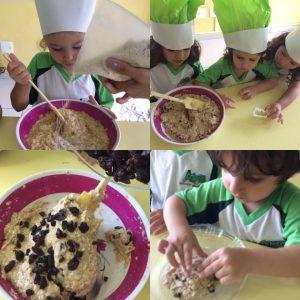 Aula de culinária fizemos, cookie de banana com aveia.